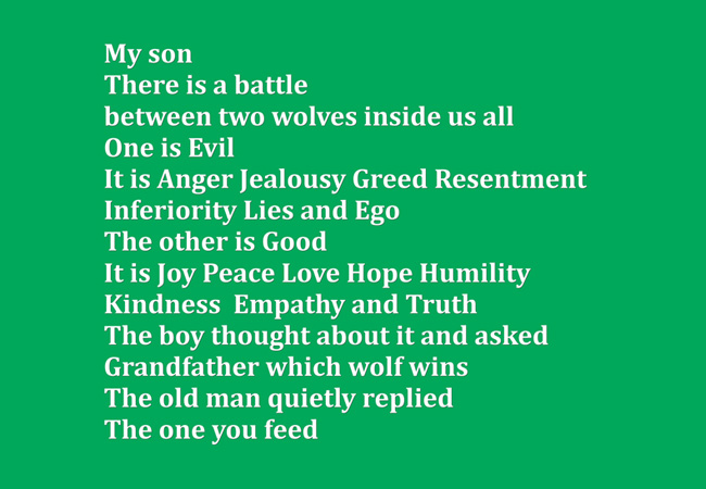 My Son There Two Wolves Inside Us All One Is Evil