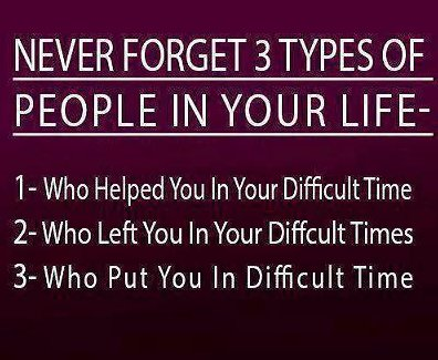 Never Forget 3 Types Of People In Your Life, 1 - Who Helped You In Your Difficult Time. 2 - Who Left You In Your Diffcult Times. 3 - Who Put You In Difficult Time