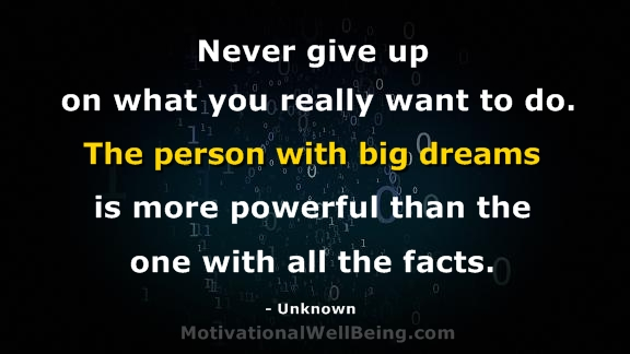 Never Give Up On What You Really Want To Do. The Person With Big Dreams Is More Powerful Than The One With All The Facts