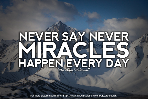 Never Say Never Miracles Happen Every Day