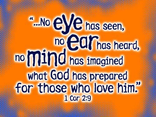 """"""" No Eye Has Seen No Ear Has Heard, No Mind Has Imagined What God Has Prepared For Those Who Love Him """" ~ Bible Quotes"""