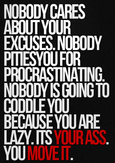 Nobody Cares About Your Excuses. Nobody Pities You For Procrastinating. Nobody Is Going To Coddle You Because You Are Lazy. Its Your Ass You Move Itq