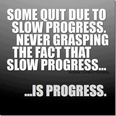 Some Quit Due To Slow Progress. Never Grasping The Fact That Slow Progress, Is Progress
