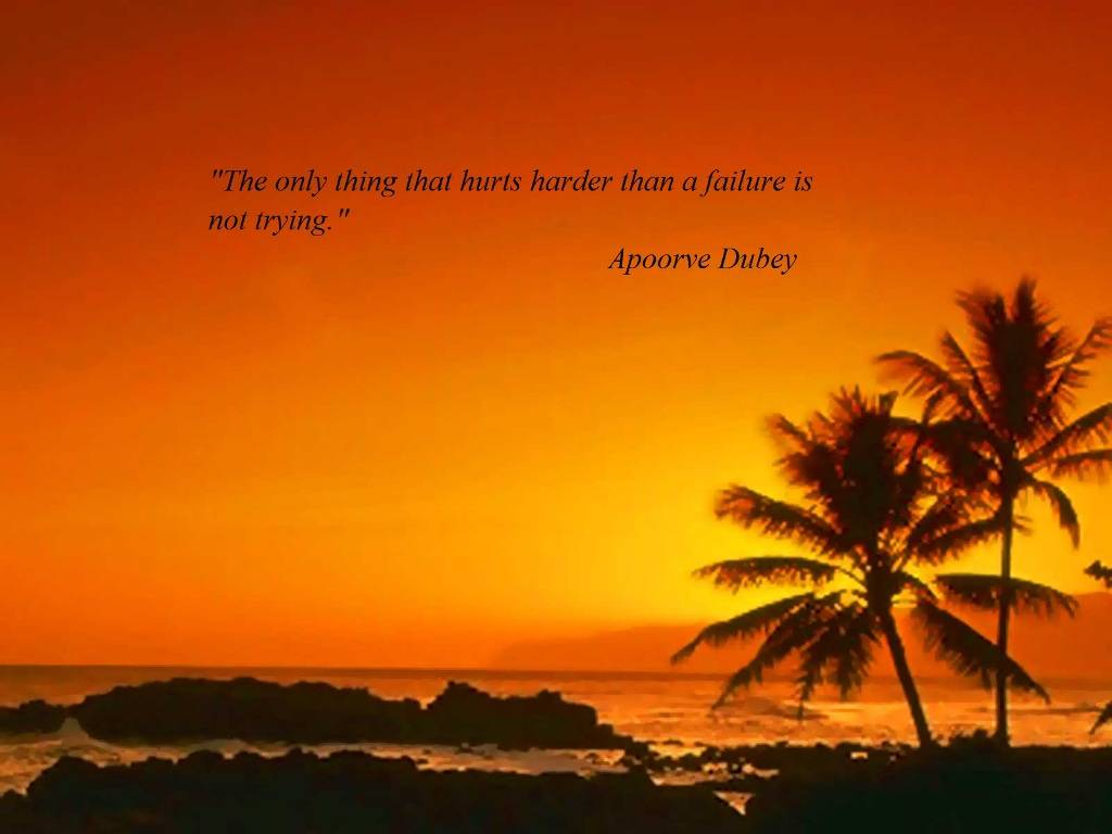 """The Only Think That Hurts Hurder Than a Failure Is Not Trying"""