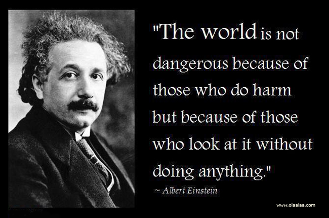 """The World Is Not Dangerous Because Of Those Who Do Harm But Because Of Those Who Look At It Without Doing Anything"""