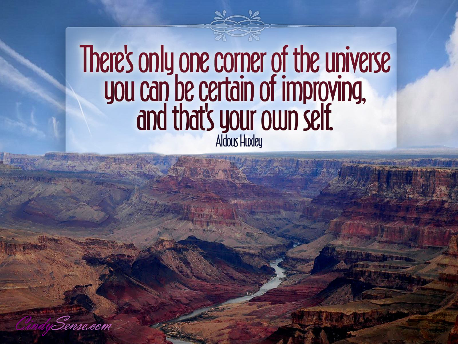 There's Only One Corner Of The Universe, You Can Be Certain Of Improving And That's Your Own Self