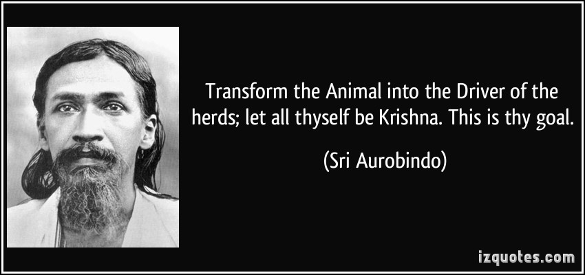 Transform The Animal Into The Driver Of The Herds Let All Thyself Be Krishna This Is Thy Goal - Sri Aurobindo