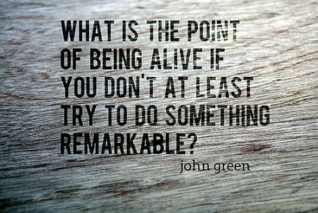 What Is The Point of Being Alive If You Don't At Leat Try To Do Something Remarkable!