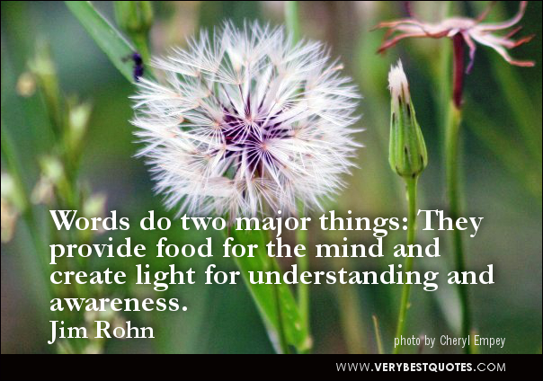 Words Do Two Major Things. They Provide Food For The Mind And Create Light For Understanding And Awereness""