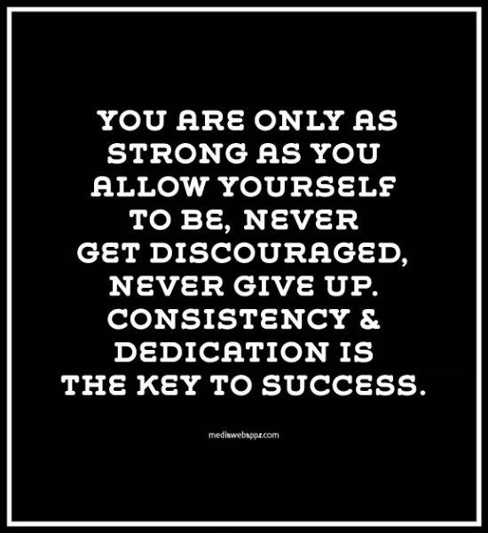 Encouraging Success Quotes: You Are Only As Strong As You Allow Yourself To Be, Never