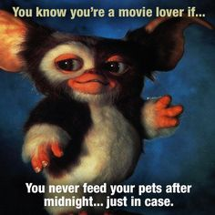 You Know You're A Movie Lover If, You Never Feed Your Pets After Midnight, Just In Case
