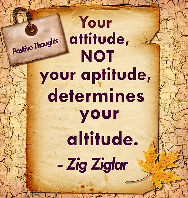 Your Attitude, Not Your Aptitude, Determines Your Altitude