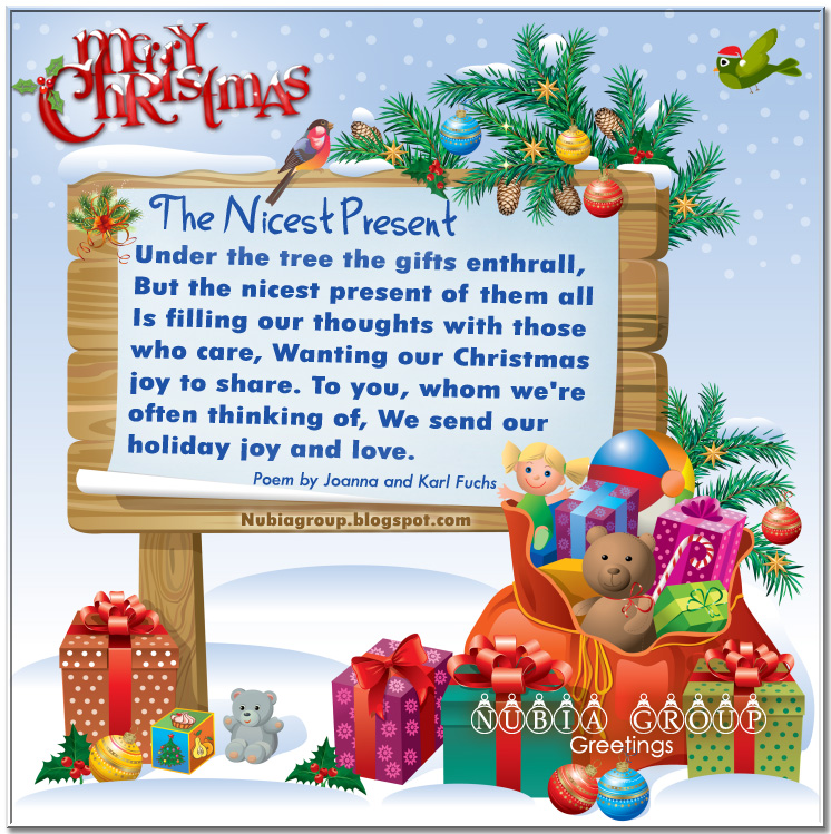 Under The Tree The Gifts Enthrall, But The Nicest Present Of Them All Is Filling Our Thoughts With Those Who Care….