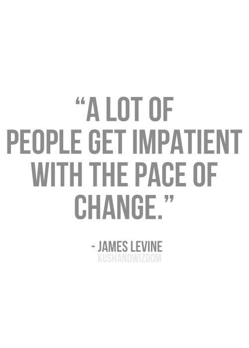 """"""" A Lot Of People Get Impatient With The Pace Of Change """" - James Levine"""