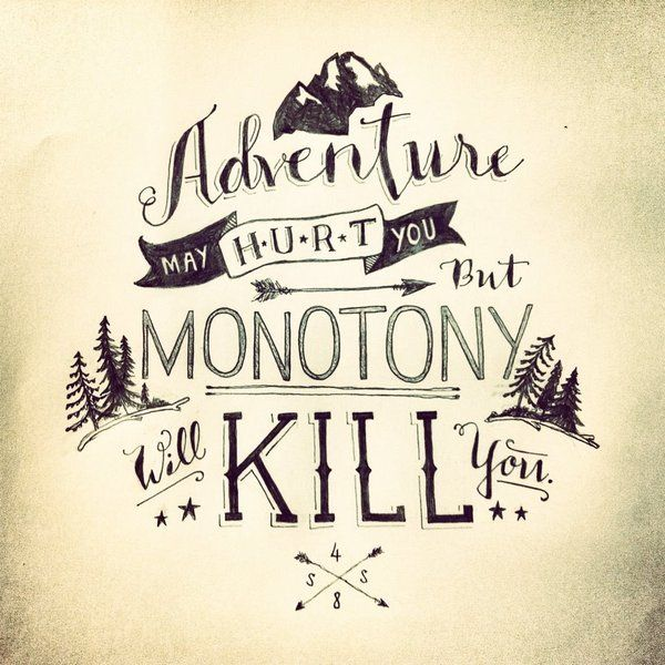 Adventure May Hurt You But Monotony Will Kill You. ~ Camping Quote