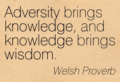 Adversity Brings Knowledge, And Knowledge Brings Wisdom. - Welsh Proverb