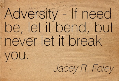 Adversity - If Need Be, Let It Bend, But Never Let It Break You. - Jacey R. Foley