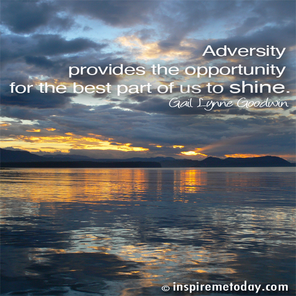 Adversity Provides The Opportunity For The Best Part Of Us To Shine. - Gail Lynne Goodwin