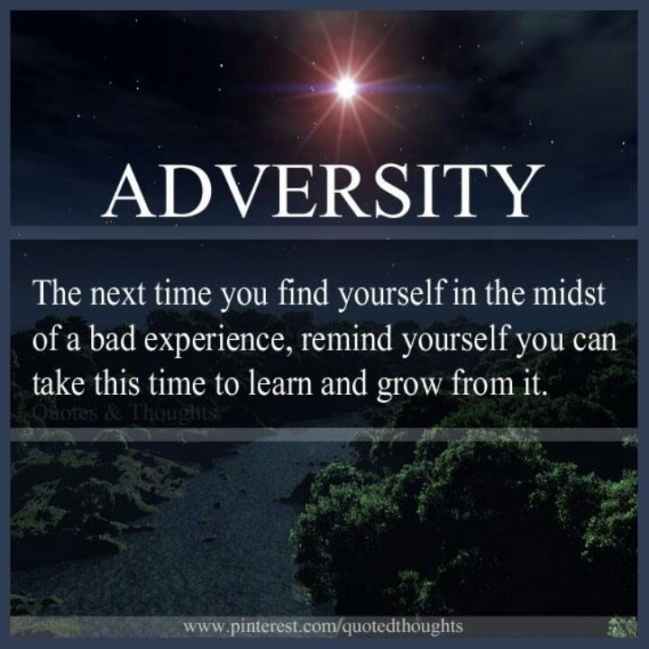 Adversity. The Next Time You Find Yourself In The Midst Of A Bad Experience, Remind Yourself You Can Take This Time To Learn And Grow From It.