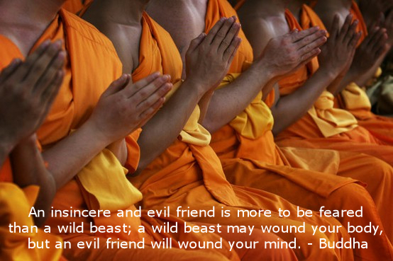 An Insincere And Evil Friend Is More To Be Feared Than A Wild Beast, A Wild Beast May Wound Your Body, But An Evil Friend Will Wound Your Mind. - Buddha