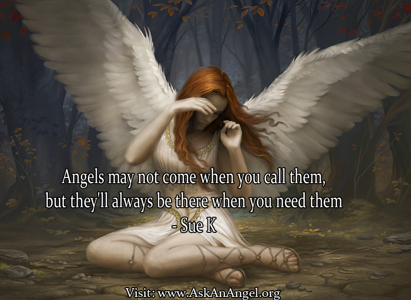 Angels May Not Come When You Call Them, But They'll Always Be there When You Need Them. - Sue K