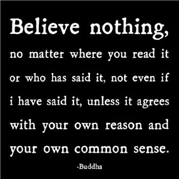 Believe Nothing, No Matter Where You Read It Or Who Has Said It, Not Even If I Have Said It, Unless It Agrees With Your Own Reason And Your Own Common Sense. - Buddha