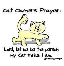 Cat Owners Prayer, Lord, Let Me Be The Person My Cat Thinks I Am.