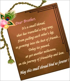 Dear Brother, It's A Small Thread, That Has Travelled A Long Way, From Pulling Each Other's Leg…