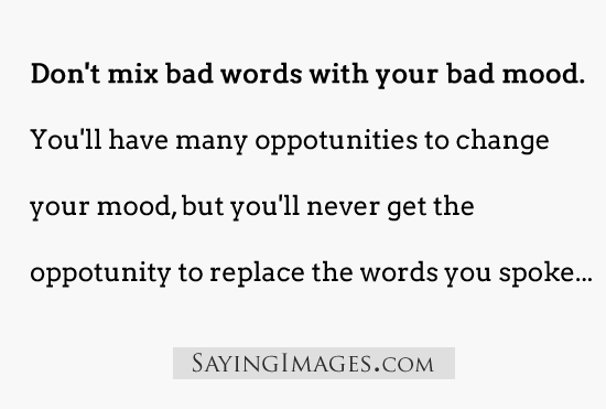 Don't Mix Your Bad Words With Your Bad Mood. You'll Have Many Opportunities To Change Your Mood, But You'll Never Get The Opportunity To Replace The Words You Spoke.