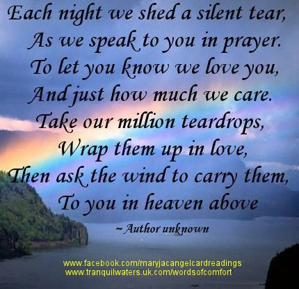 Each Night We Shed A Silent Tear, As We Speak To You In Prayer. To Let You Know We Love You, And Just How Much We Care.  Take Our Millions Teardrops…