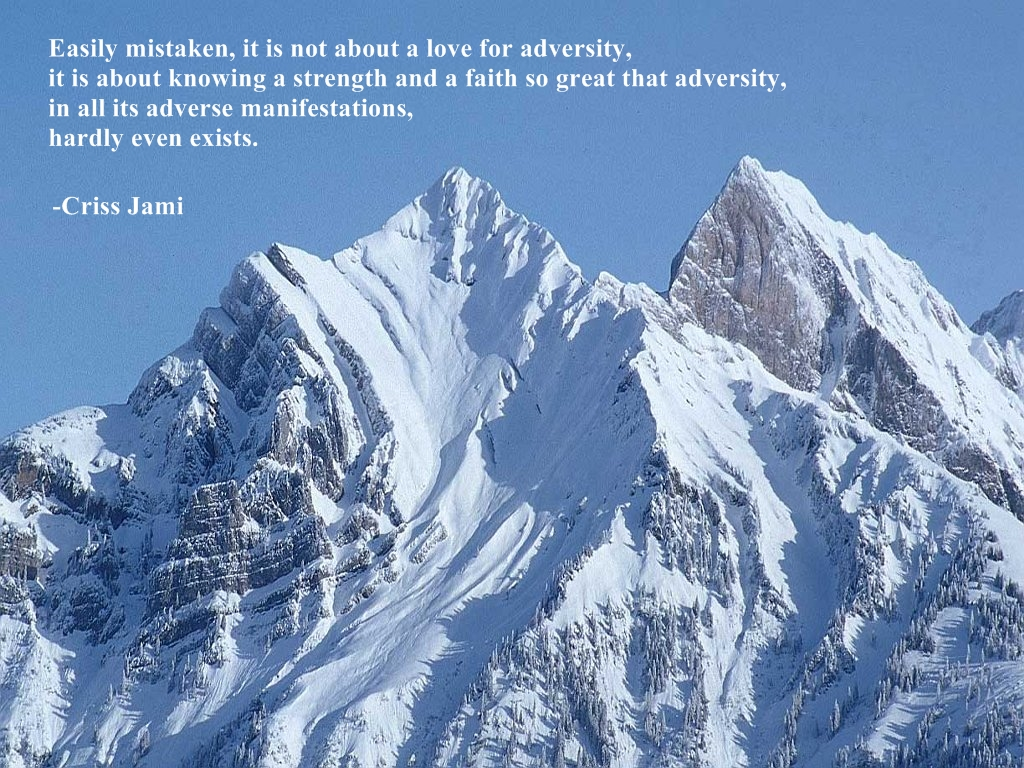 Easily Mistaken, It Is Not About A Love For Adversity, It Is About Knowing a Strength And a Faith So Great That Adversity, In All Its Adverse Manifestations, Hardly Even Exists. - Criss Jami