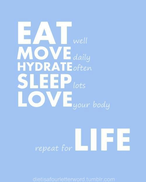 Eat Well Move Daily Hydrate Often Sleep Lots Love Your Body Repeat For Life.