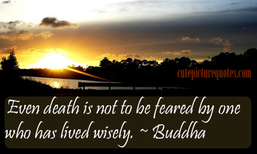Even Death Is Not To Be Feared By One Who Has Lived Wisely. - Buddha