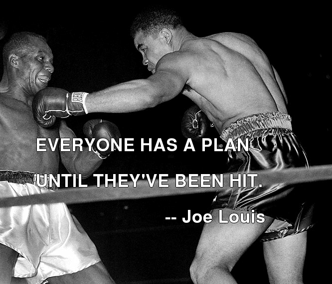 Everyone Has A Plan Until They've Been Hit. - Joe Louis ~ Boxing Quotes