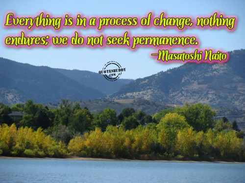 Everything Is In A Process Of Change, Nothing Endures; We Do Not Seek Permanence. - Masatoshi Naito