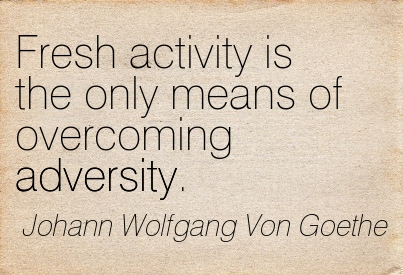 Fresh Activity Is The Only Means Of Overcoming Adversity. - Johann Wolfgang Von Goethe