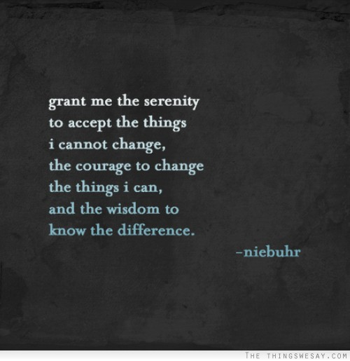 Grant Me The Serenity To Accept The Things I Cannot Change, The Courage To Change The Things I Can, And The Wisdom To Know The Difference. - Niebuhr
