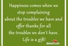 Happiness Comes When We Stop Complaining About The Troubles We Have And Offer Thanks For All The Troubles We Don't Have. Life Is A Gift.
