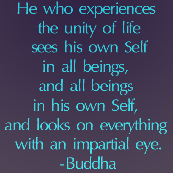 He Who Experiences The Unity Of Life Sees His Own Self In All Beings, And All Beings In His Own Self, And Looks On Everything With An Impartial Eye. - Buddha