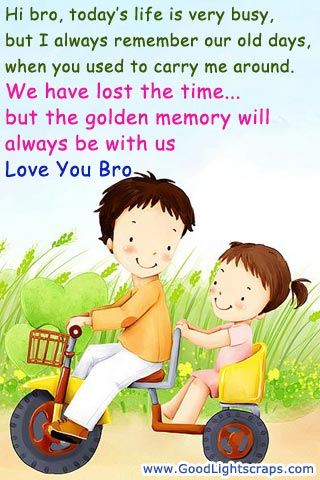 Hi Bro, Today's Life Is Very Busy, But I Always Remember Our Old Days, When You Used To Carry Me Around….