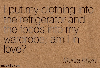 I Put My Clothing Into The Refrigerator And The Foods Into My Wardrobe Am I In Love! - Munia Khan