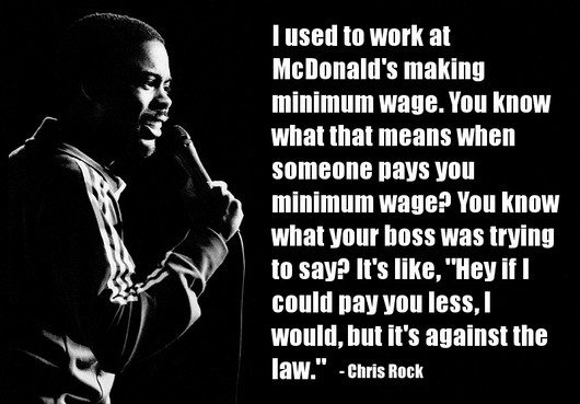 I Used To Work At McDonalds' Making Minimum Wage. You Know What That Means When Someone Pays You Minimum Wage… -  Chris Rock ~ Censorship Quotes