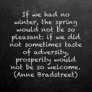 If We Had No Winter, The Spring Would Not Be So Pleasant, If We Did Not Sometimes Taste Of Adversity, Prosperity Would Not Be So Welcome