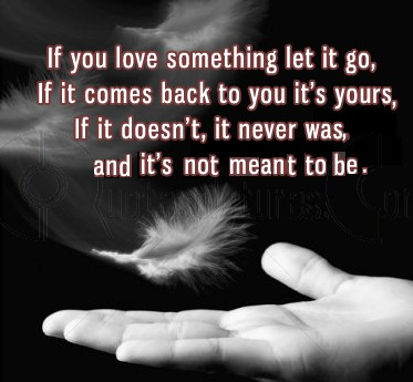 If You Love Something Let It Go, If It Comes Back To You It's Yours, If It Doesn't, It Never Was, And It's Not Meant To Be. ~ Angel Quotes