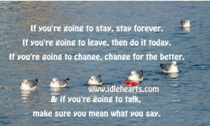 If You're Doing To Stay, Stay Forever, If You're Going To Leave, Then Do It Today, If You're Going To Change, Change For The Better…