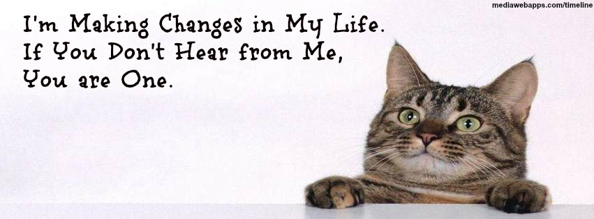 I'm Making Changes In My Life. If You Don't Hear From Me, You Are  One. ~ Cat Quotes