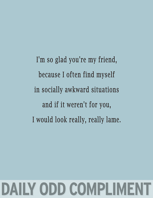I'm So Glad You're My Friend, Because I Often Find Myself In Socially Awkward Situations And If It Weren't For You, I Would Look Really, Really Lame