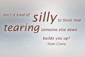 Isn't It Kind Of Silly To Think That Tearing Someone Else Down Builds You Up! Sean Covey