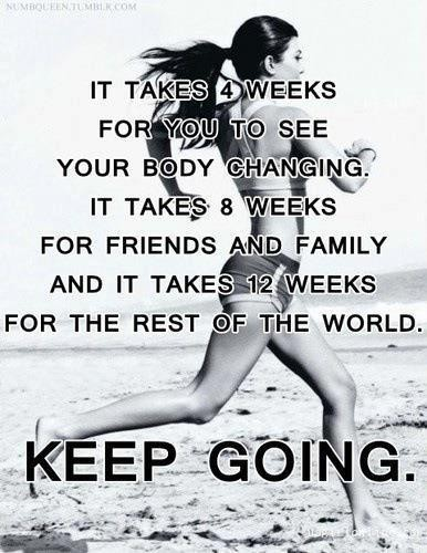 It Takes 4 Weeks For You To See Your Body Changing. It Takes 8 Weeks For Friends And Family And It Takes 12 Weeks For The Rest Of The World. Keep Going.
