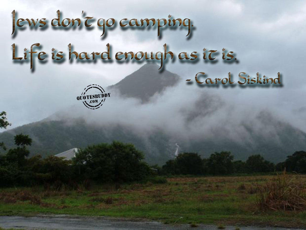 Jew's Don't Go Camping, Life Is Hard Enough As It Is. - Carol Siskind